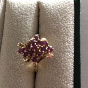 14k gold and ruby cocktail ring